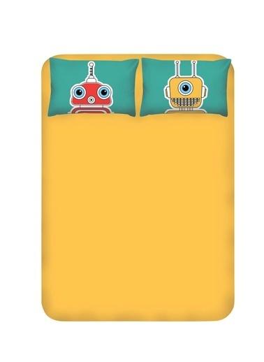 EnLora Home Enlora %100 Doğal Pamuk Çarşaf+Yastık Seti Çift Kişilik Robotte  Yeşil